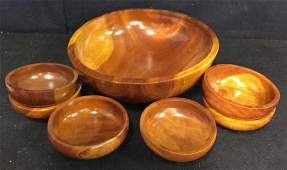 Glossy Hand Made Teak large Bowl w 6 Bowls