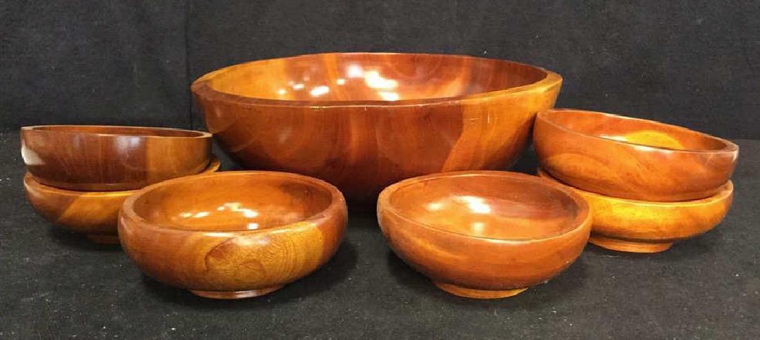 Glossy Hand Made Teak large Bowl w 6 Bowls - 2