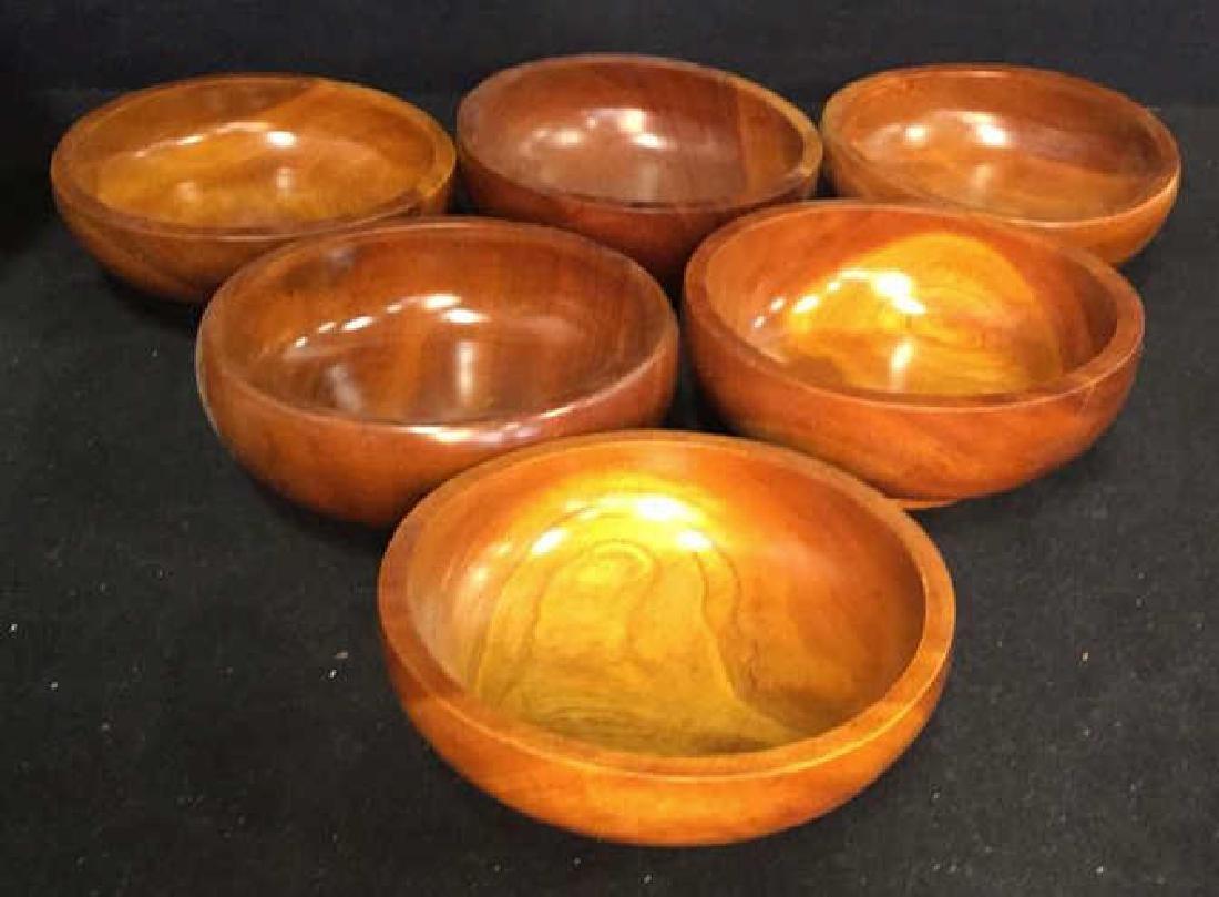 Glossy Hand Made Teak large Bowl w 6 Bowls - 7