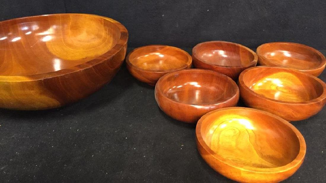 Glossy Hand Made Teak large Bowl w 6 Bowls - 8