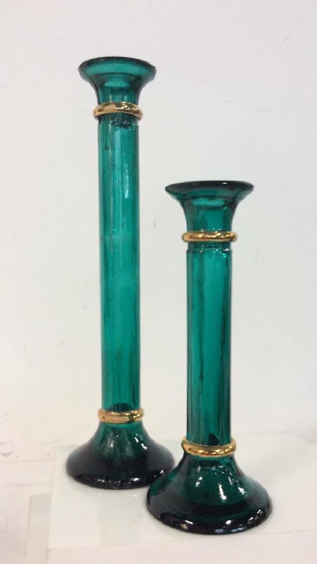 Set 3 Green Toned W Gold Candlesticks - 2