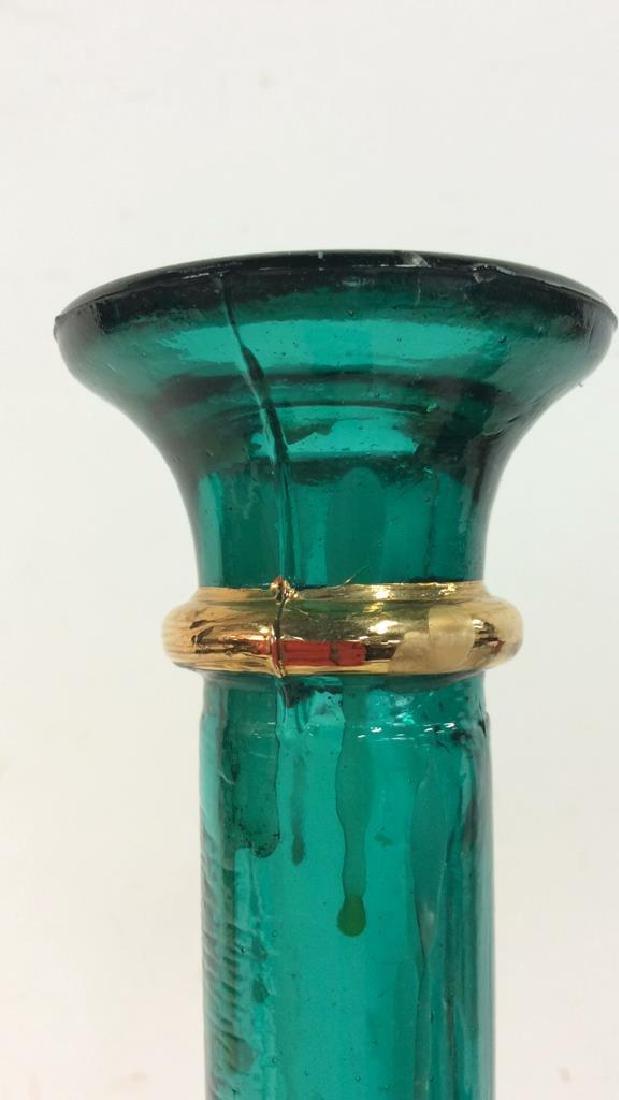 Set 3 Green Toned W Gold Candlesticks - 7