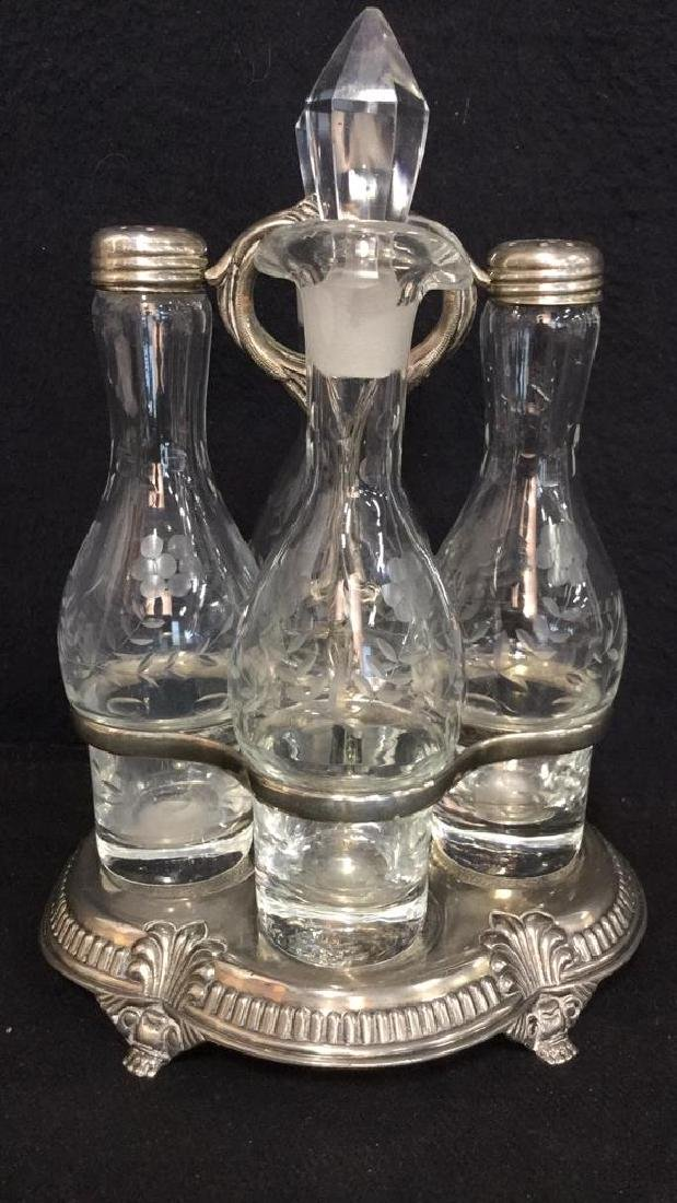 Victorian Silver Plate & Cut Glass Cruet Set