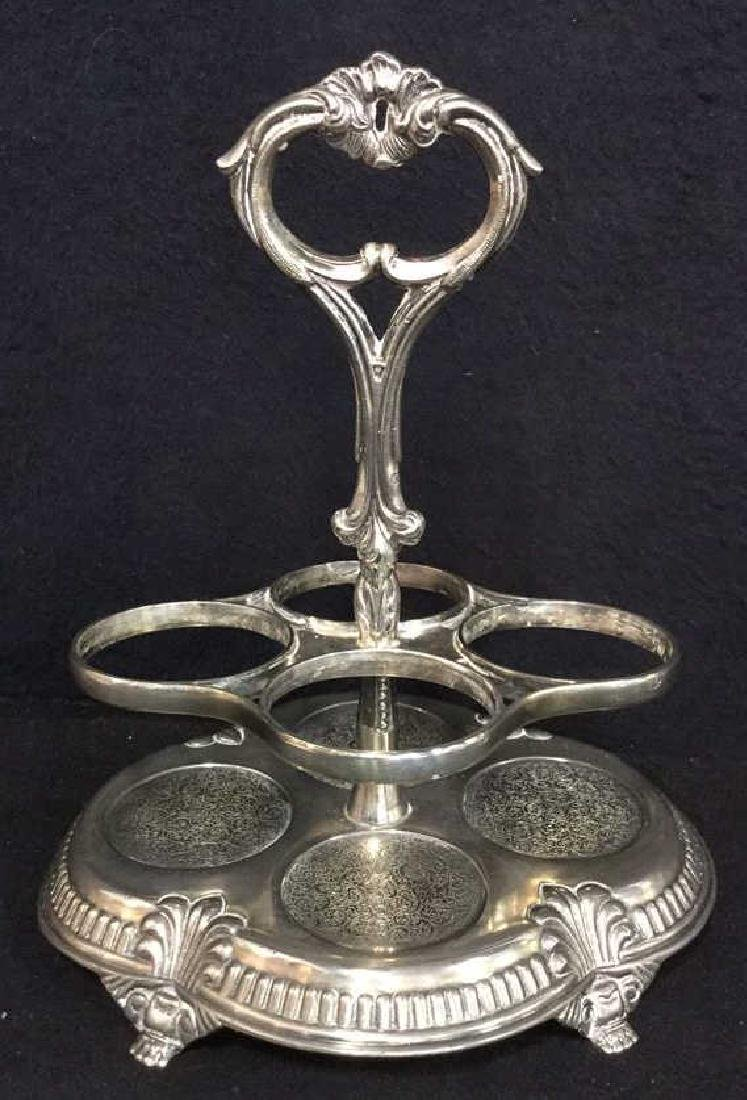 Victorian Silver Plate & Cut Glass Cruet Set - 2