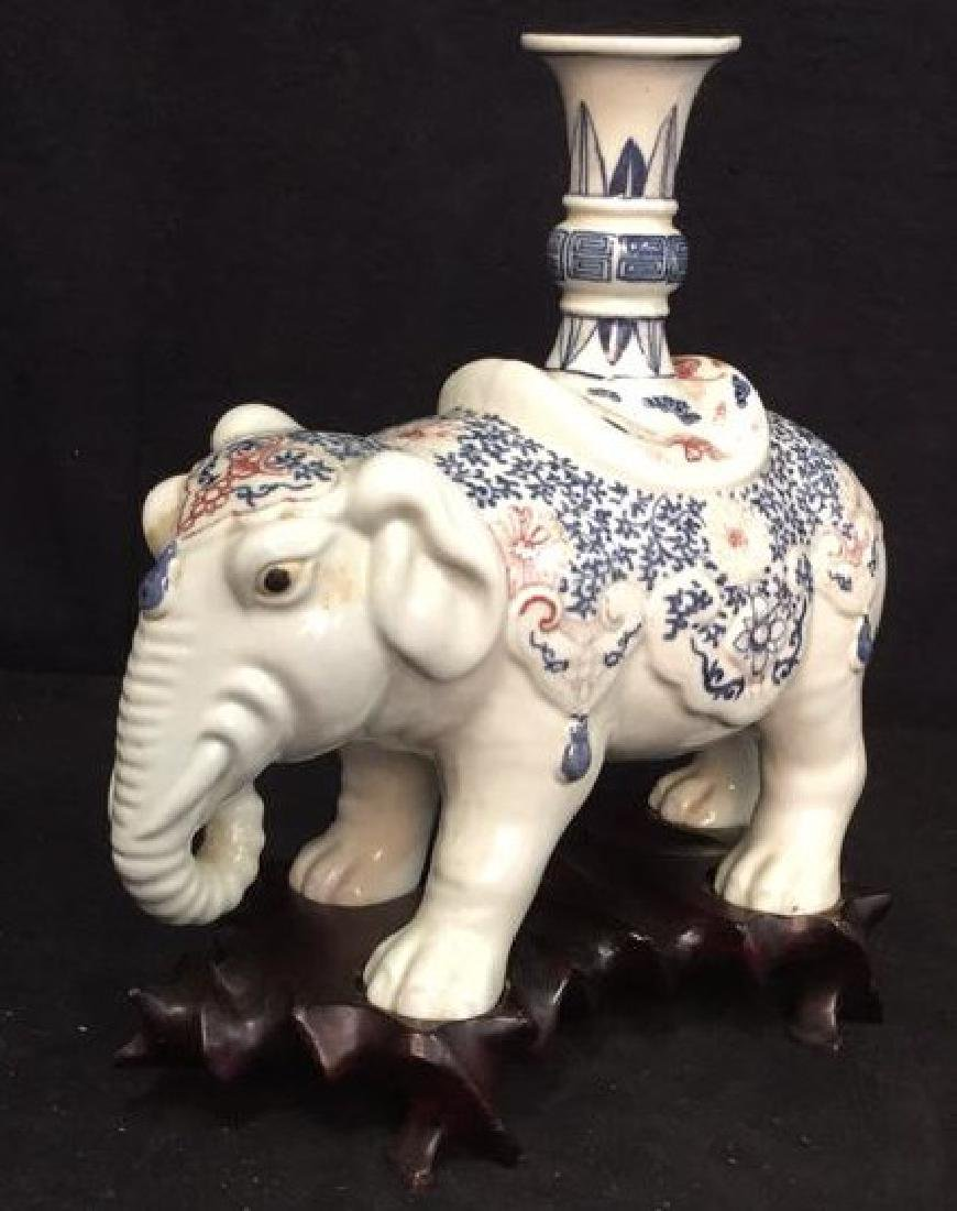Porcelain Elephant Figural Candle Holder w Stand - 2