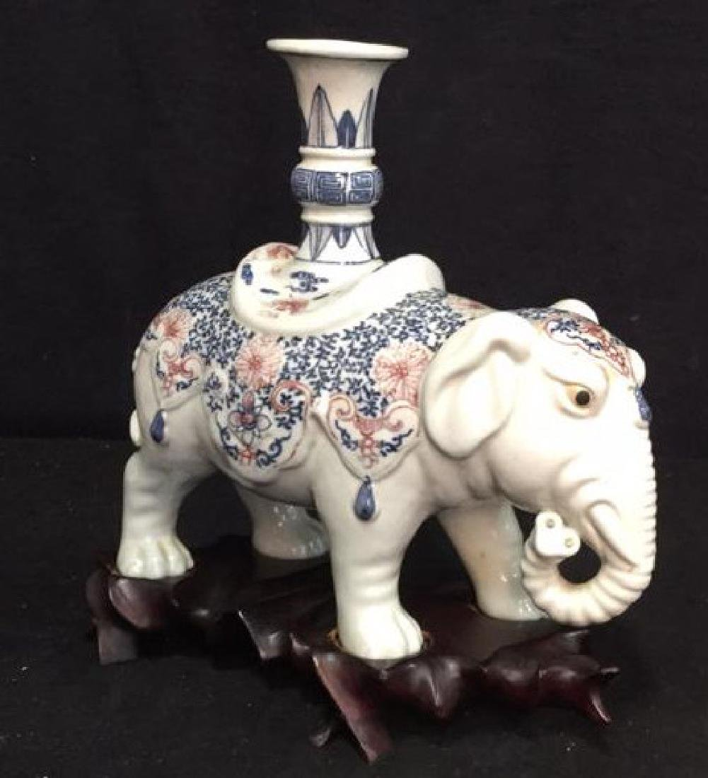 Porcelain Elephant Figural Candle Holder w Stand - 7