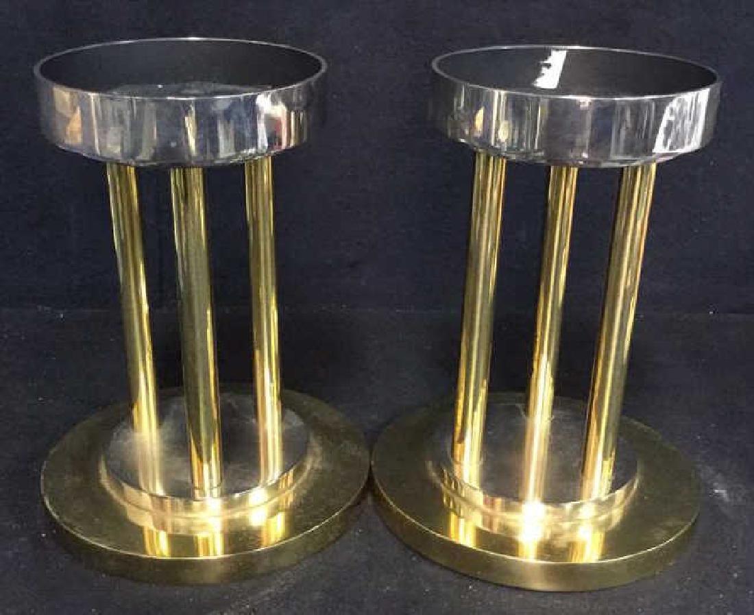 Pair Solid Brass Chrome Post Modern Candle Sticks - 3