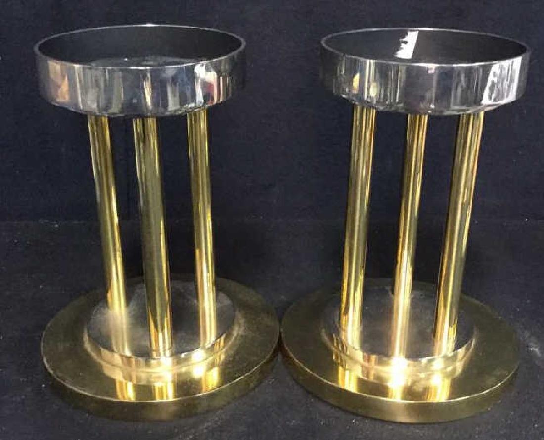 Pair Solid Brass Chrome Post Modern Candle Sticks - 4