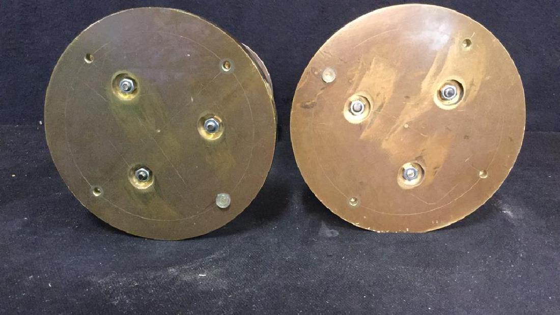 Pair Solid Brass Chrome Post Modern Candle Sticks - 7