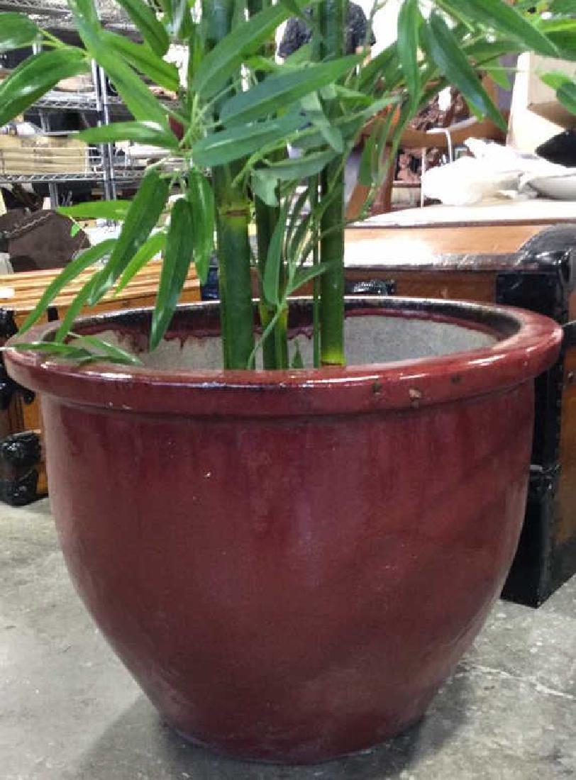 Large Glazed Ceramic Planter Pot W Faux Tree