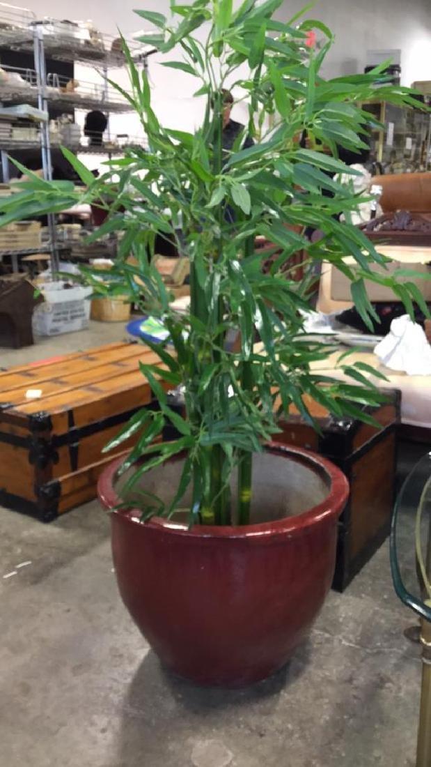 Large Glazed Ceramic Planter Pot W Faux Tree - 2