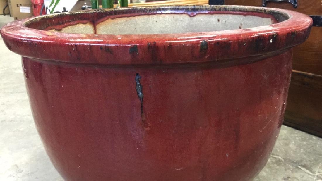Large Glazed Ceramic Planter Pot W Faux Tree - 5