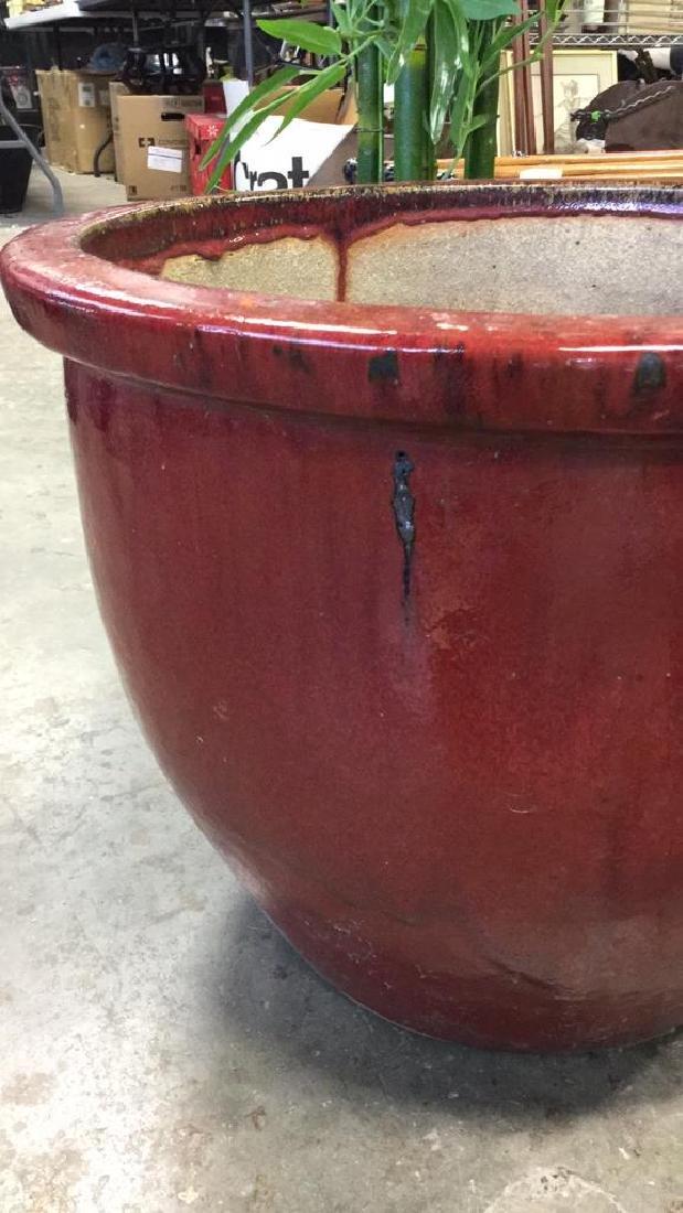 Large Glazed Ceramic Planter Pot W Faux Tree - 6