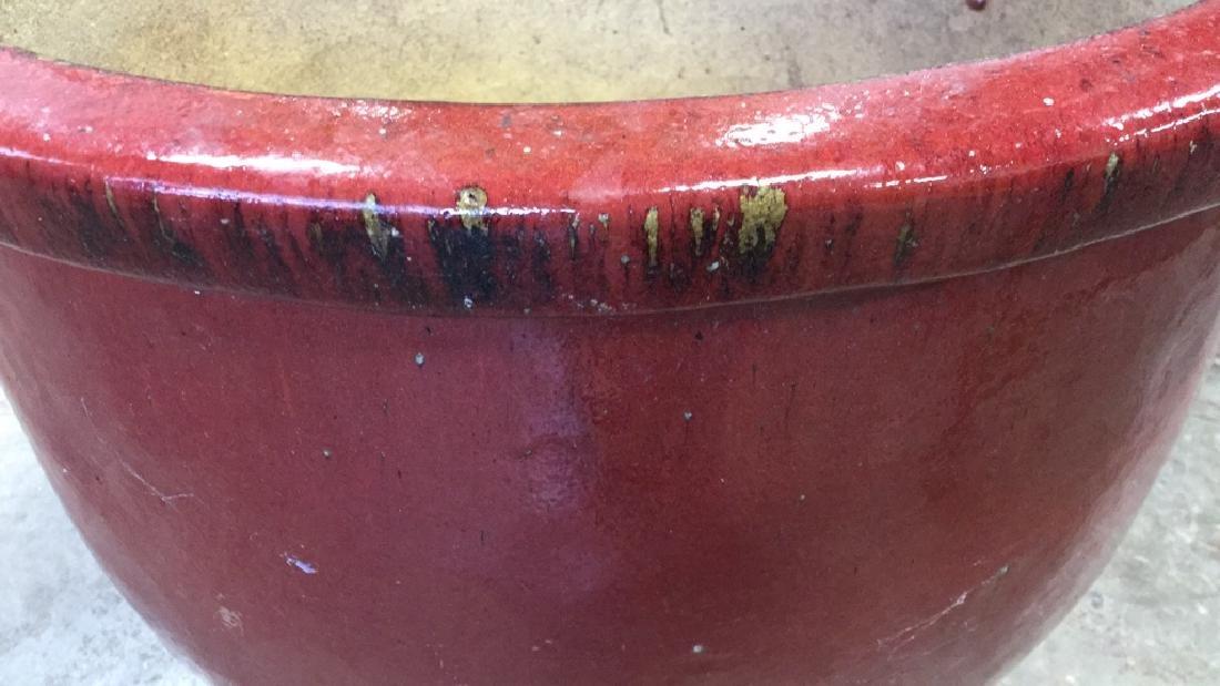 Large Glazed Ceramic Planter Pot W Faux Tree - 7