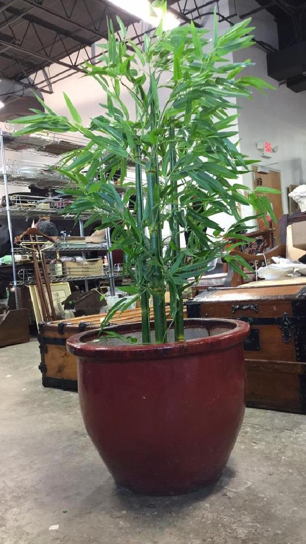 Large Glazed Ceramic Planter Pot W Faux Tree - 8