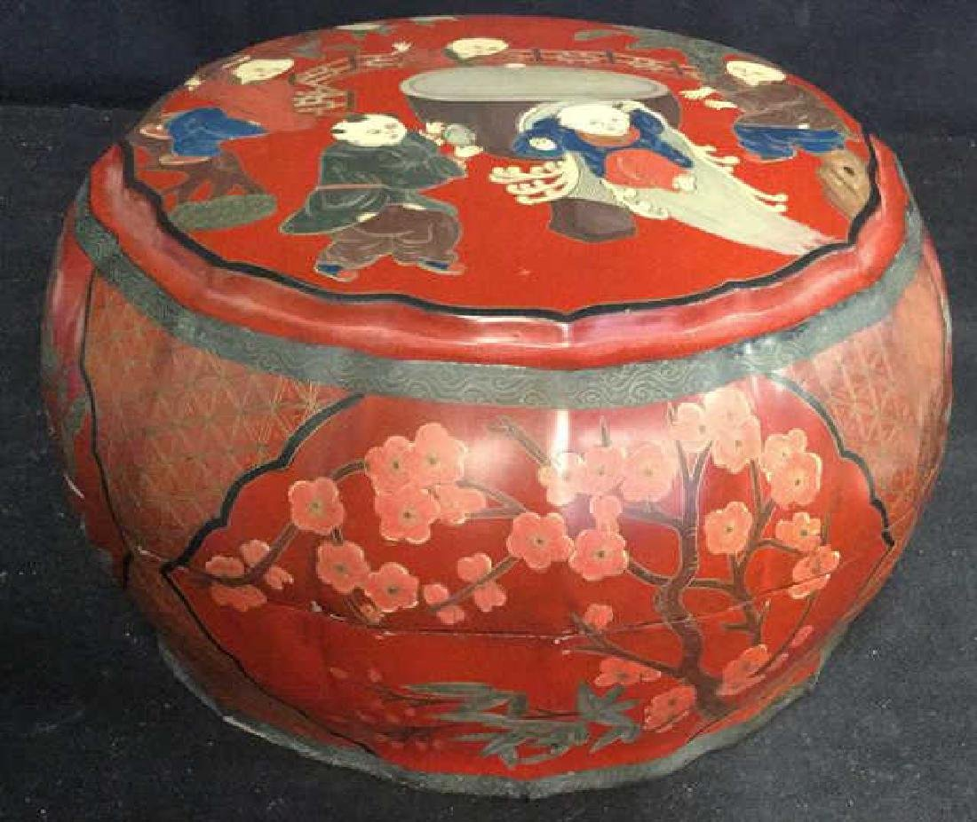 Antique Chinese Lacquered and Carved Storage Box