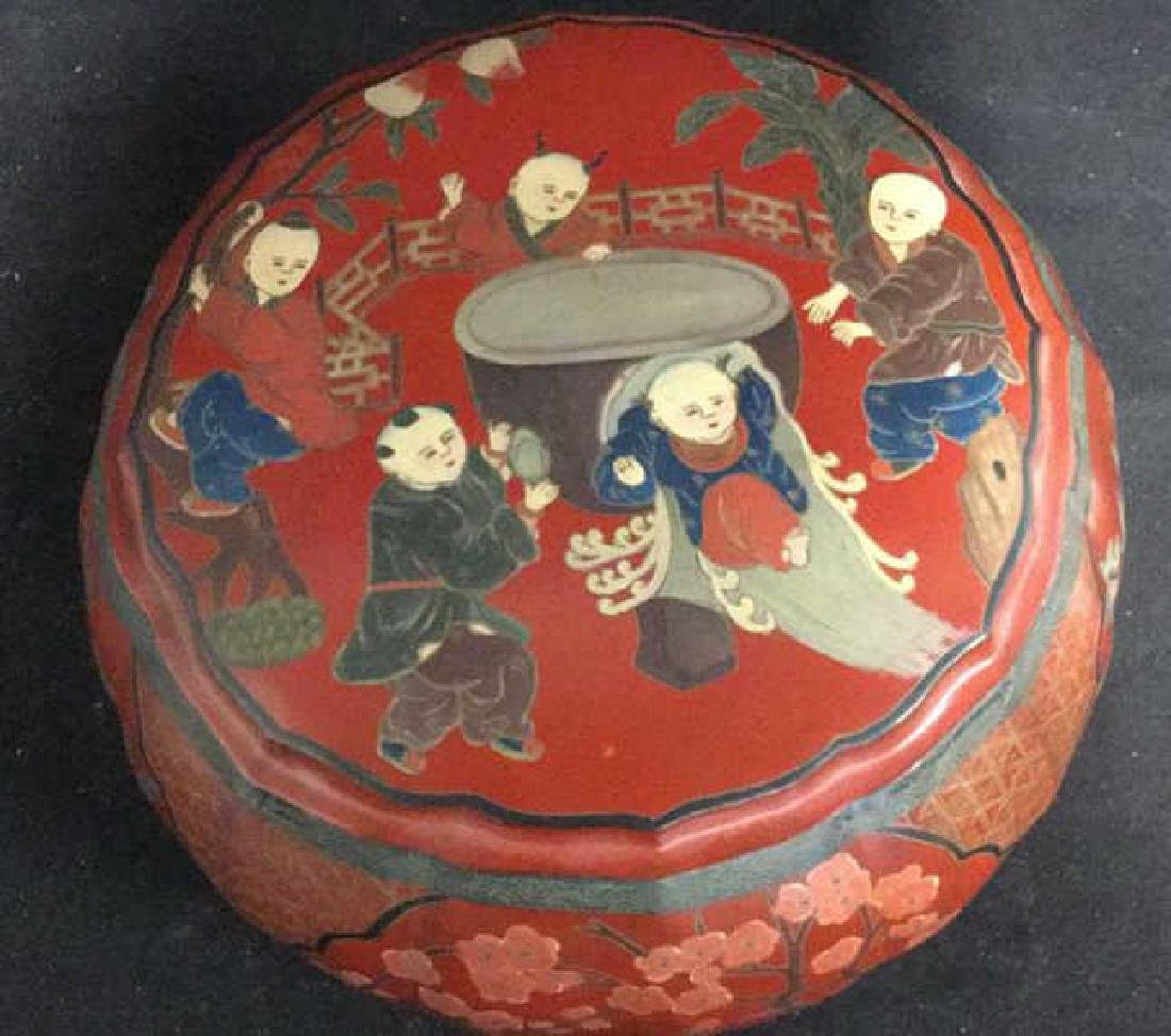 Antique Chinese Lacquered and Carved Storage Box - 2