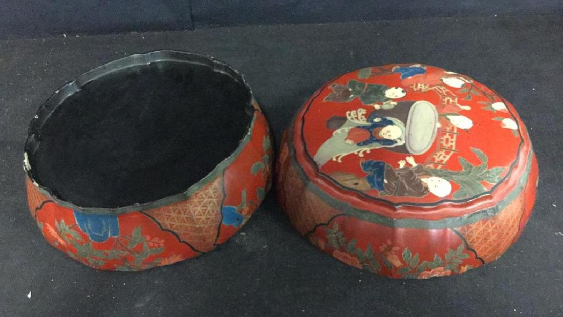 Antique Chinese Lacquered and Carved Storage Box - 8