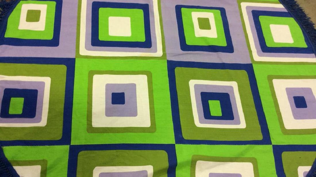 Mid Century Op Art Table Cloth C.1960 Panton Era - 10