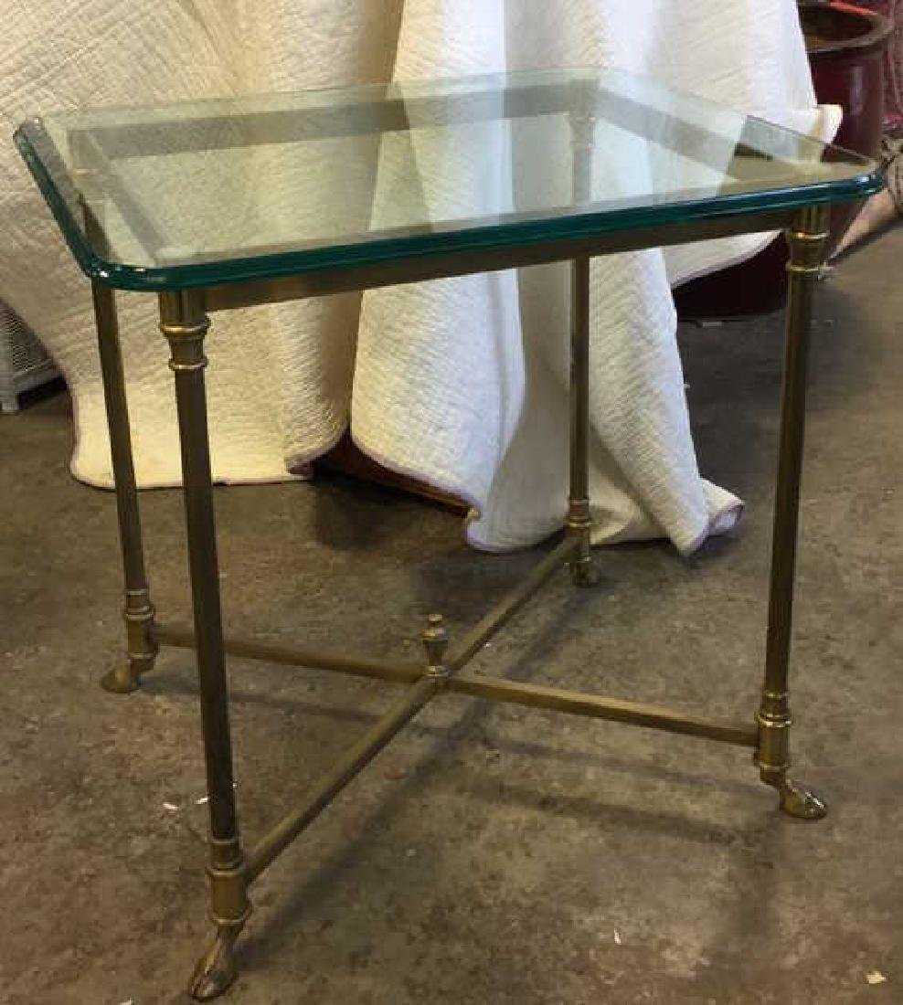 Vintage Hoof Footed Brass & Glass Topped Table