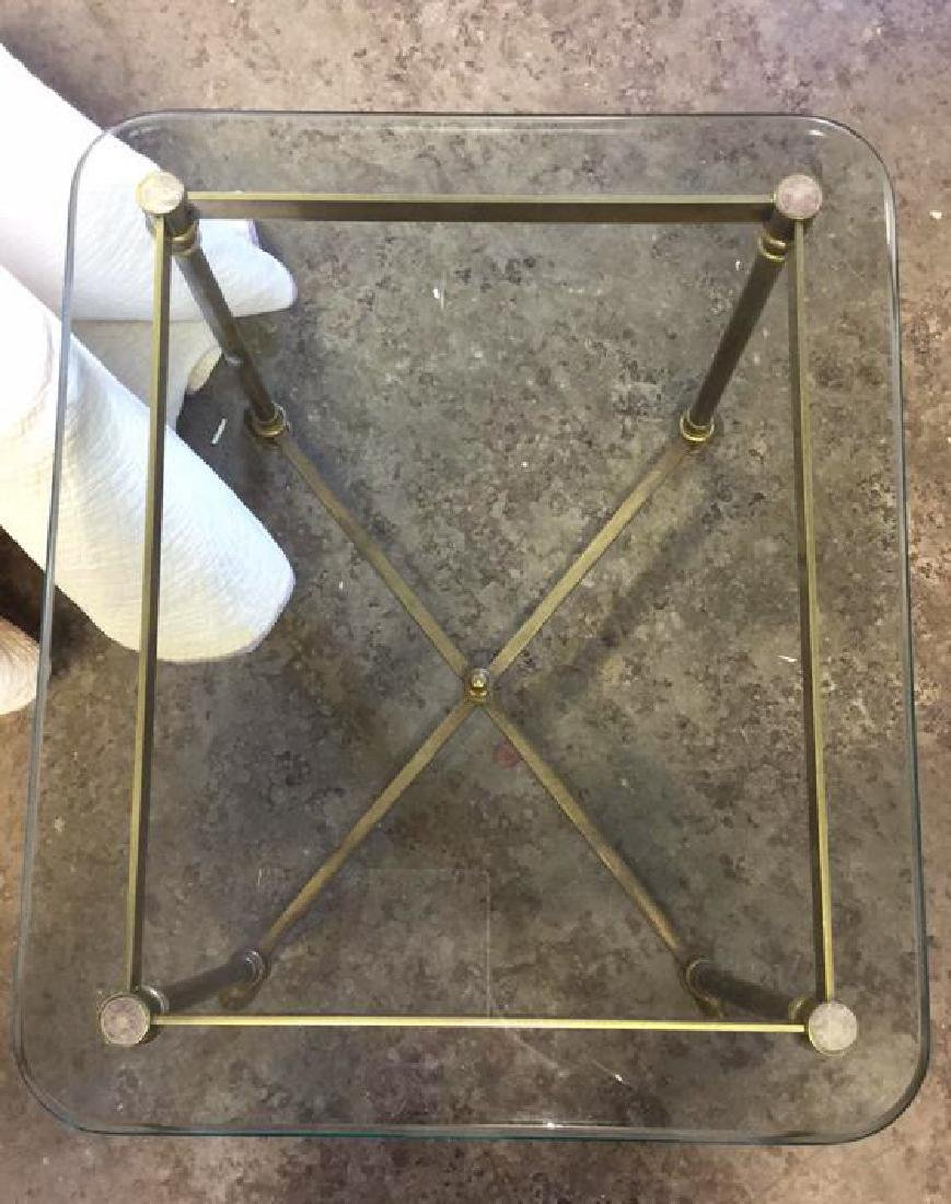 Vintage Hoof Footed Brass & Glass Topped Table - 5