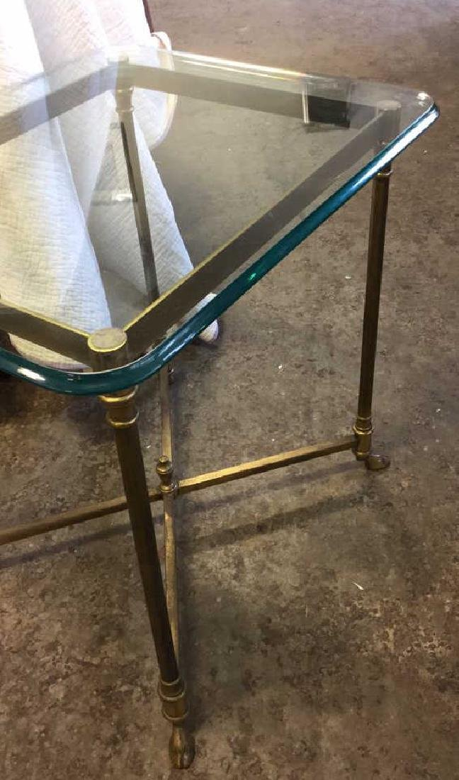 Vintage Hoof Footed Brass & Glass Topped Table - 7