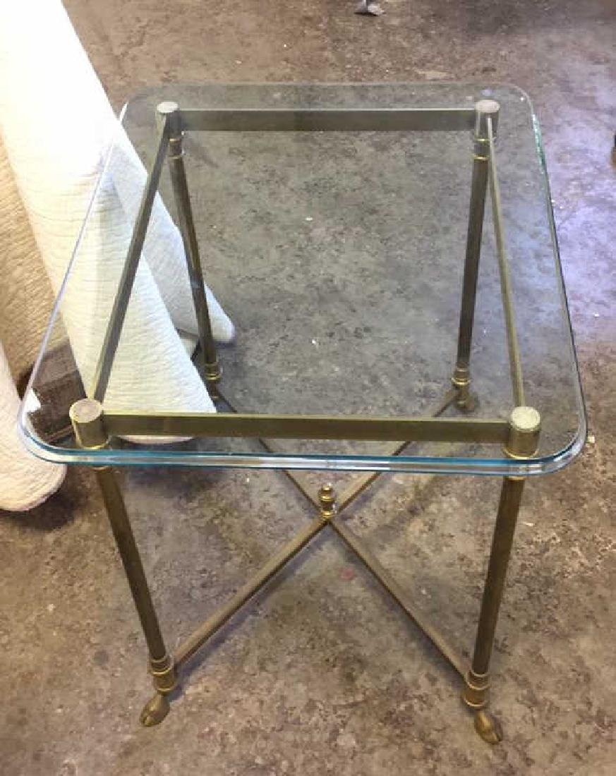 Vintage Hoof Footed Brass & Glass Topped Table - 8