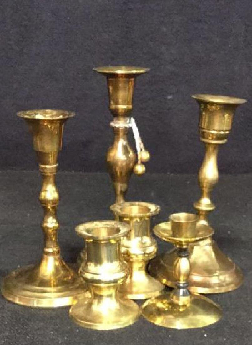 Group lot Vintage Brass Candle Sticks - 7