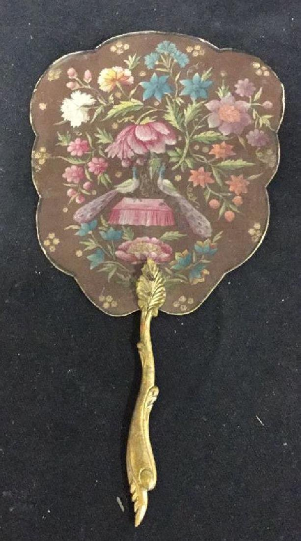 Antique Hand Painted Leather wood Shaped Fan - 6