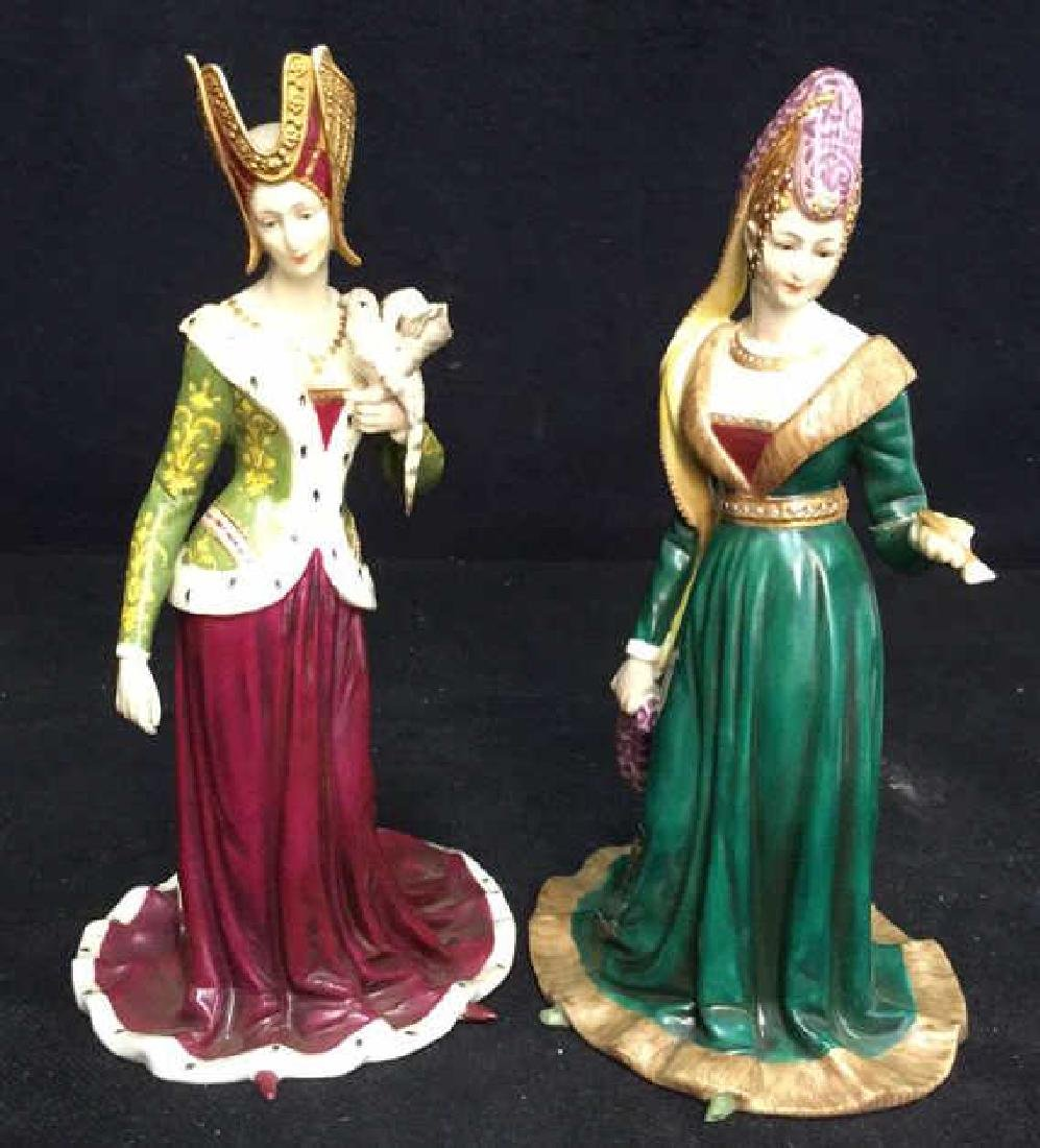 Pair of Porcelain Female Figurals in Gowns Crowns