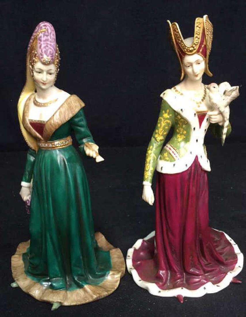 Pair of Porcelain Female Figurals in Gowns Crowns - 2