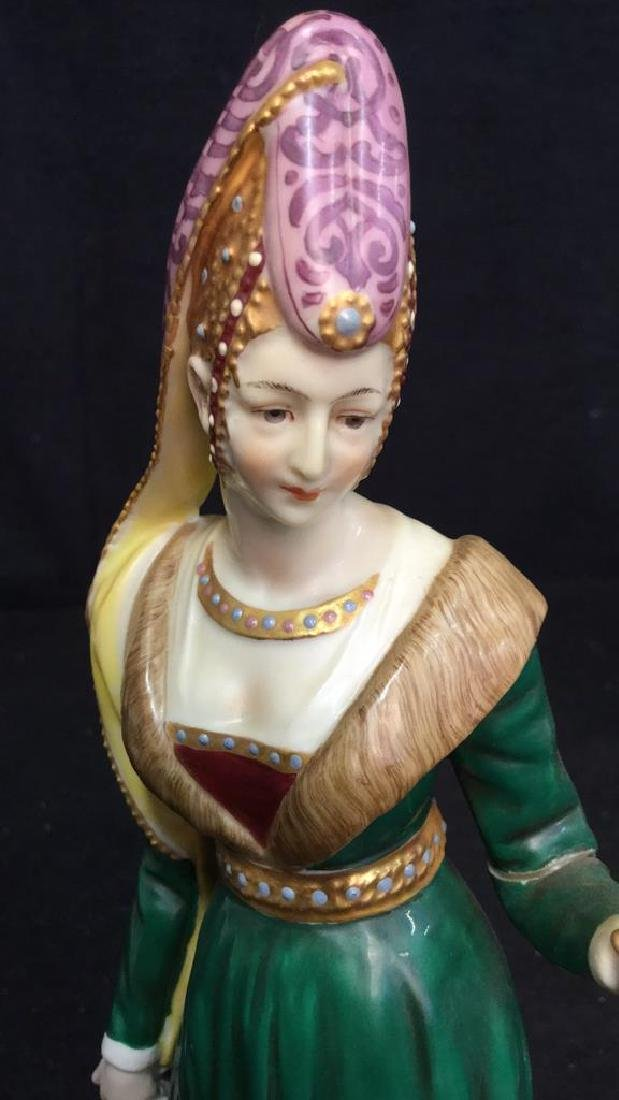 Pair of Porcelain Female Figurals in Gowns Crowns - 4