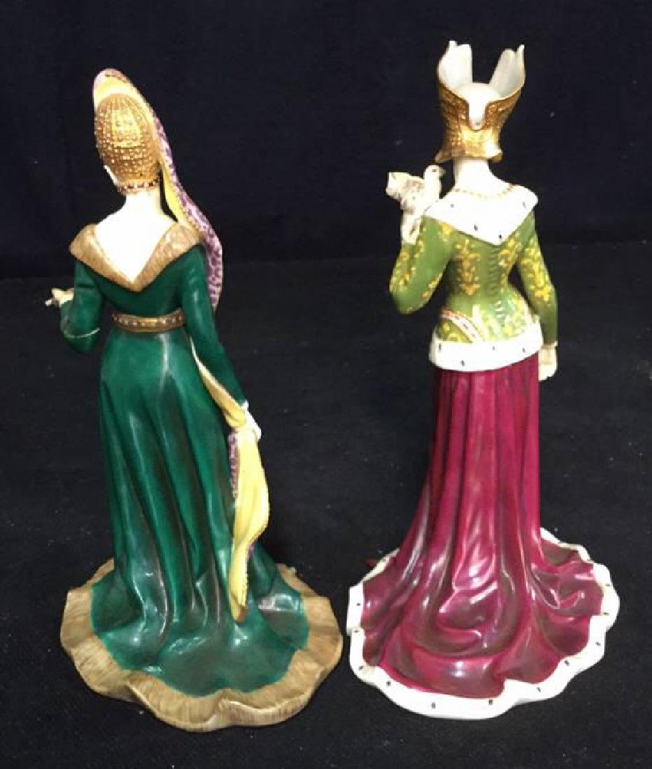Pair of Porcelain Female Figurals in Gowns Crowns - 7