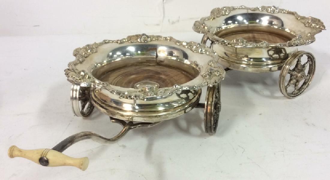 Ornately Detailed Silver Toned Wine Coaster Cart