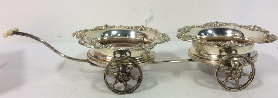 Ornately Detailed Silver Toned Wine Coaster Cart - 2