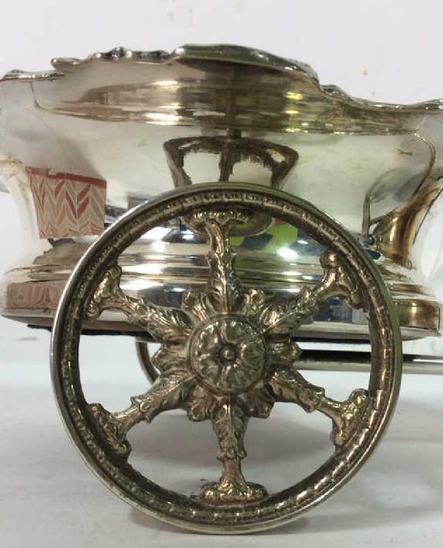 Ornately Detailed Silver Toned Wine Coaster Cart - 7