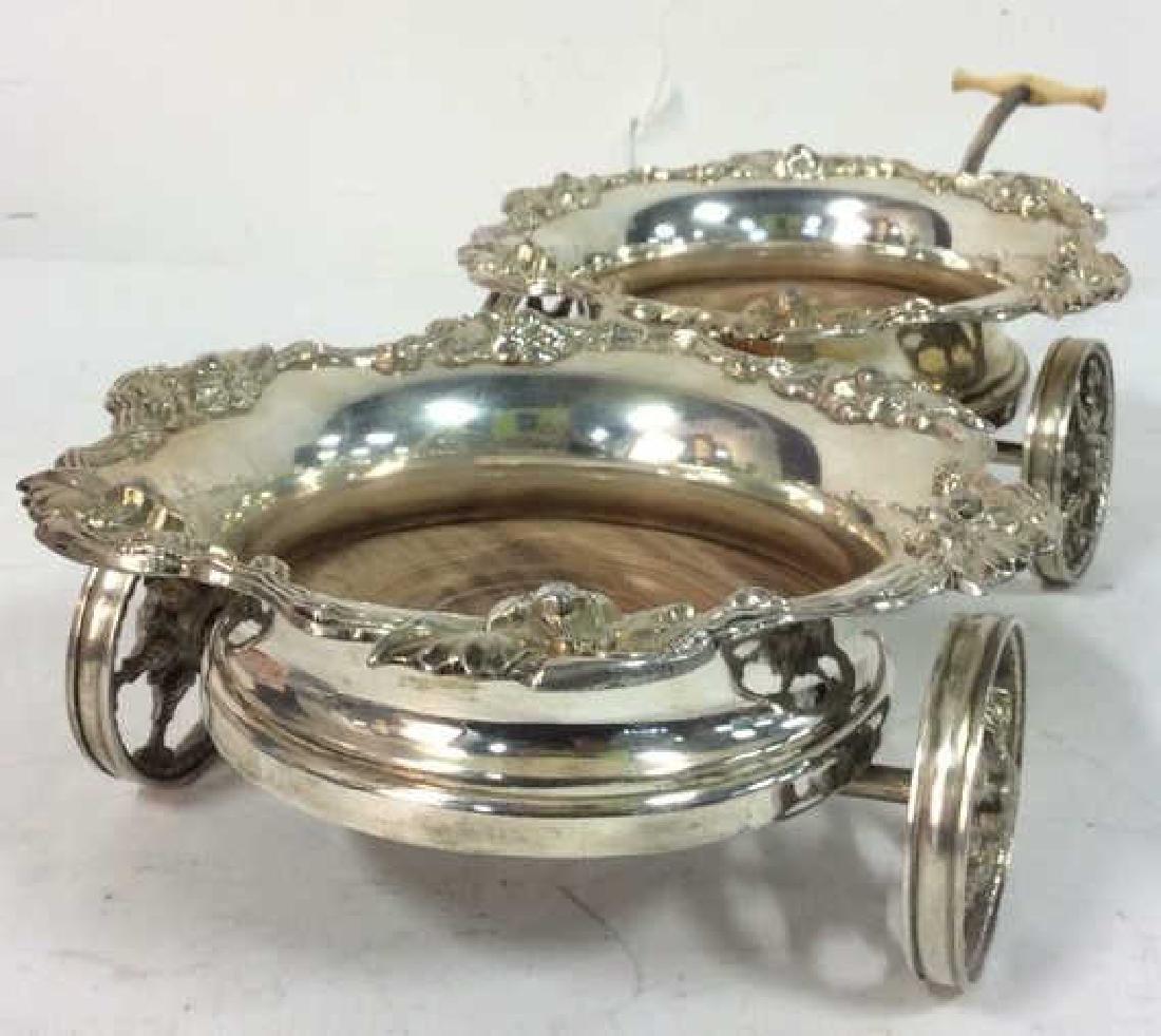 Ornately Detailed Silver Toned Wine Coaster Cart - 8
