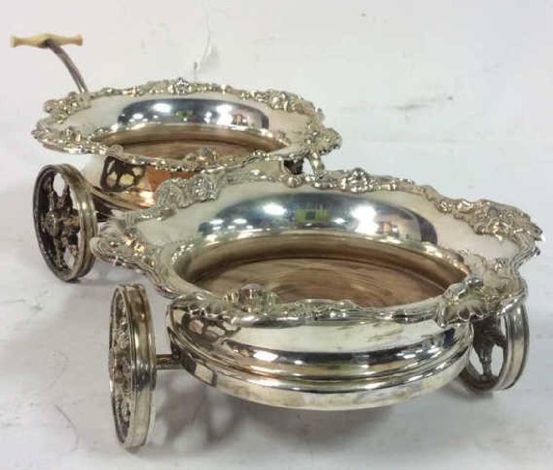Ornately Detailed Silver Toned Wine Coaster Cart - 9