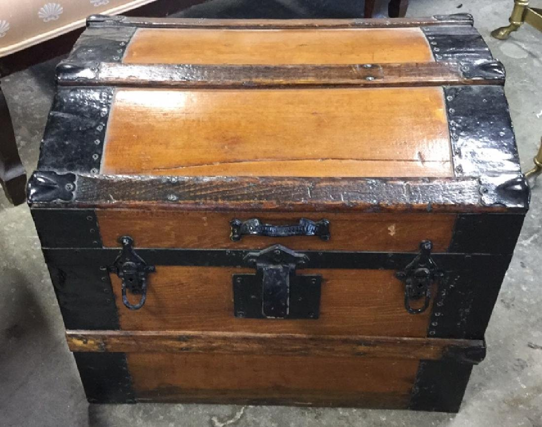 Vintage Possibly Antique Wood And Metal Trunk