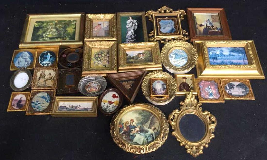 Group Lot Miniature Carved Wood Metal Frames
