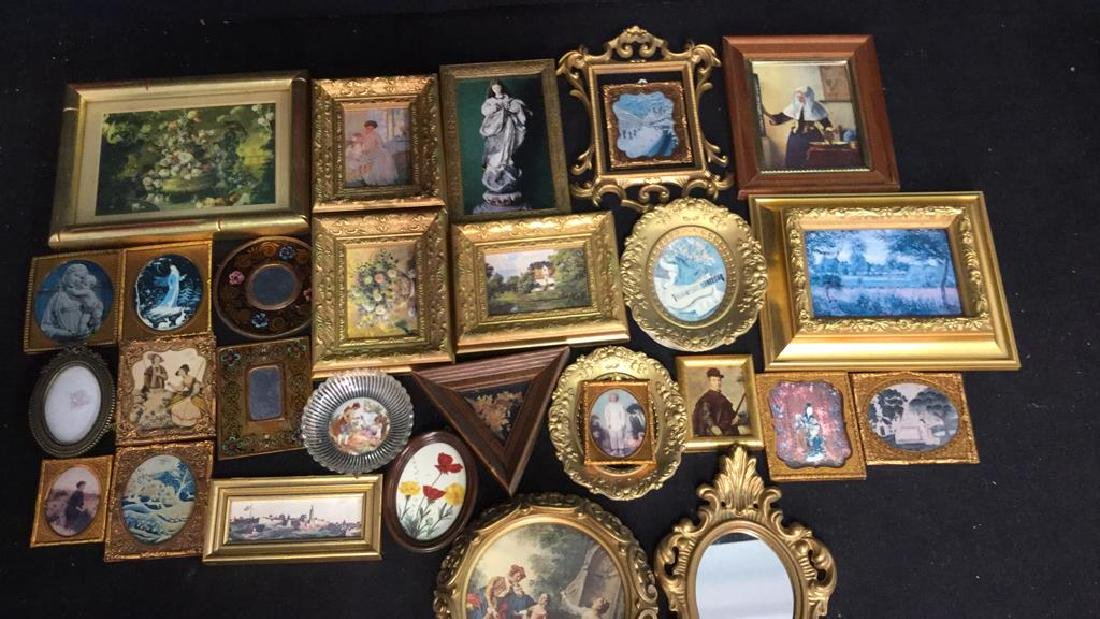 Group Lot Miniature Carved Wood Metal Frames - 2