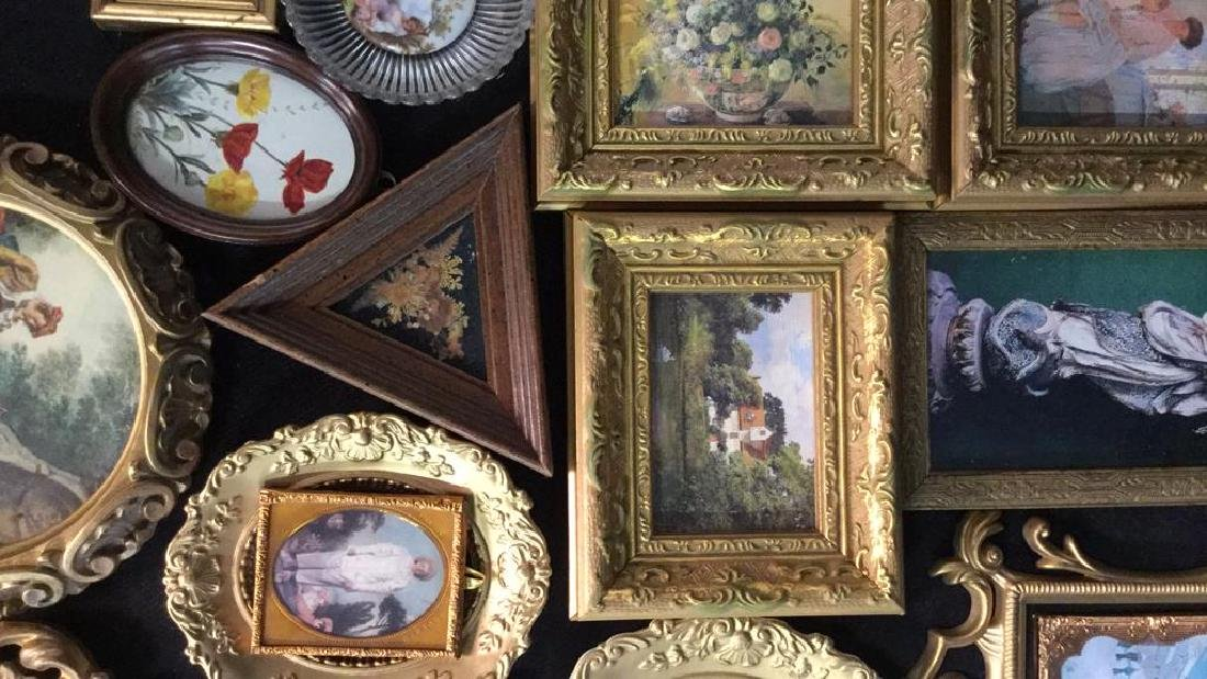 Group Lot Miniature Carved Wood Metal Frames - 5