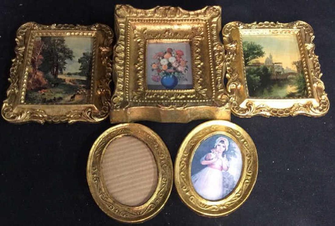 Group 5 Miniature Carved Gold Leafed Frames