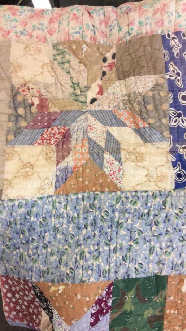 Lot 2 Vintage Poss Antique Handmade Quilts - 2
