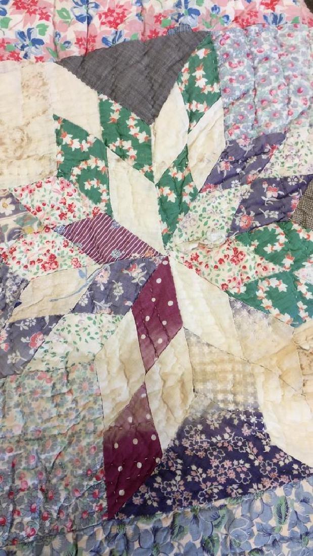 Lot 2 Vintage Poss Antique Handmade Quilts - 3