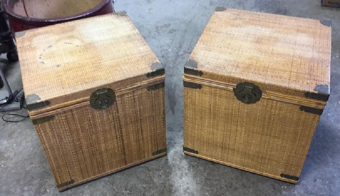 Pair Of Wicker And Brass Toned Metal Side Tables