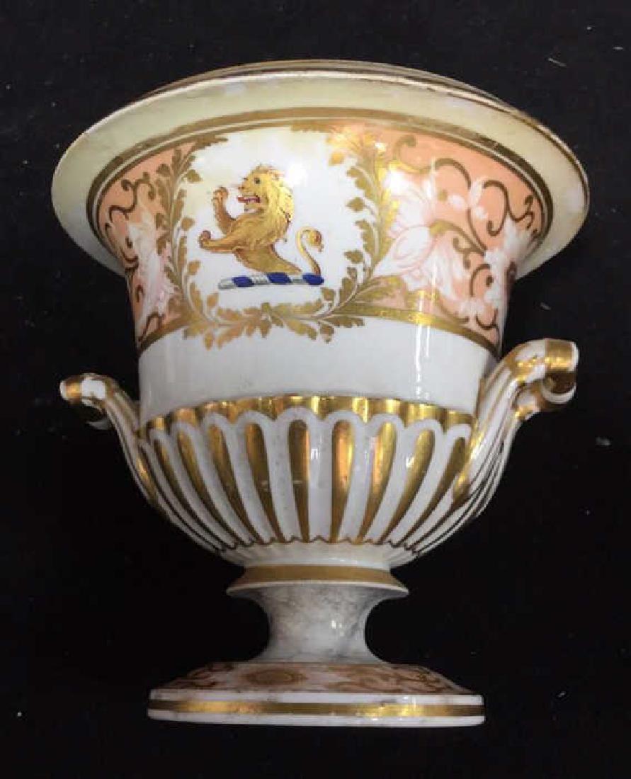 Antique Painted Porcelain Urn W Lion