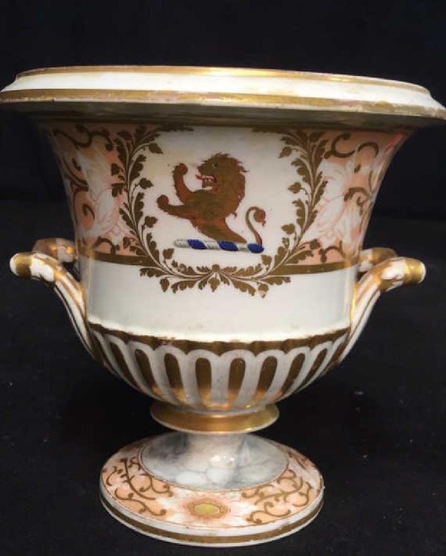 Antique Painted Porcelain Urn W Lion - 2