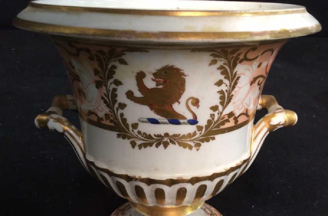 Antique Painted Porcelain Urn W Lion - 4