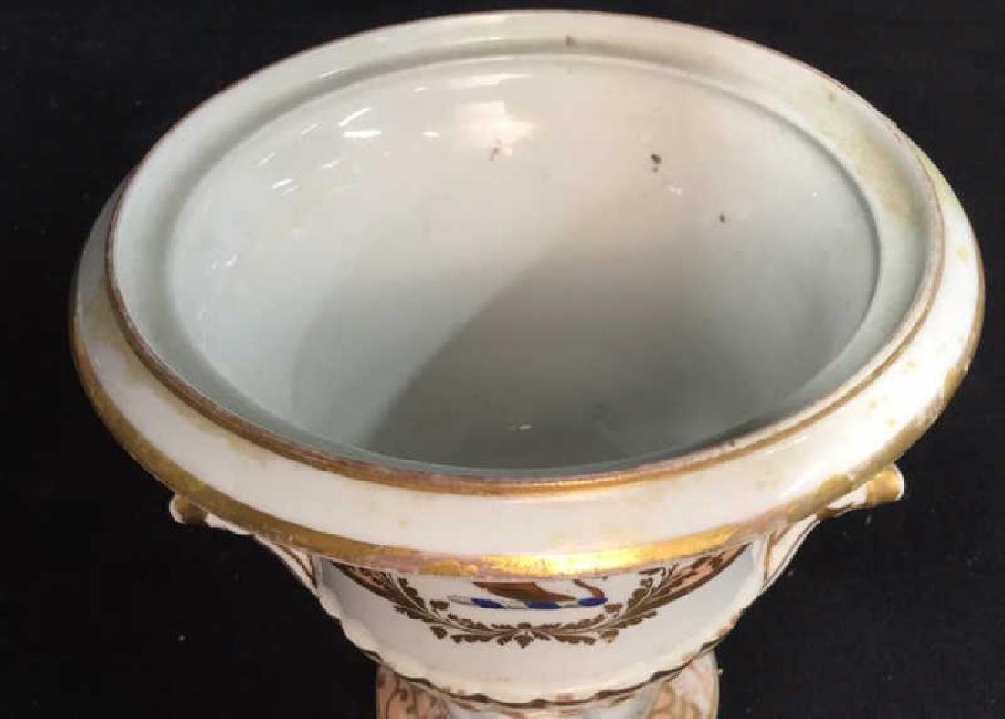 Antique Painted Porcelain Urn W Lion - 5